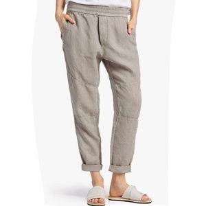 James Perse Patch Linen Elastic Pants Joggers Tan